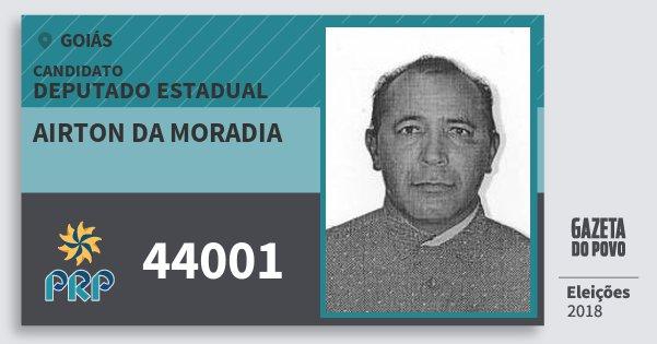 Santinho Airton da Moradia 44001 (PRP) Deputado Estadual | Goiás | Eleições 2018