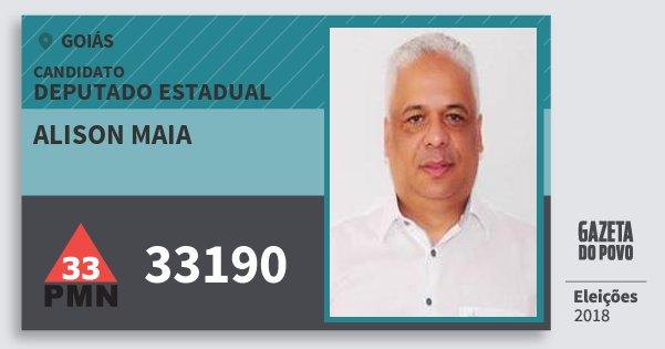 Santinho Alison Maia 33190 (PMN) Deputado Estadual | Goiás | Eleições 2018