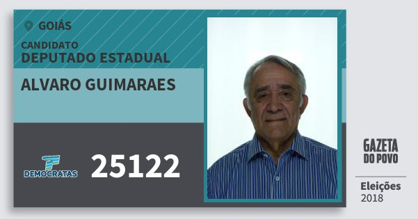 Santinho Alvaro Guimaraes 25122 (DEM) Deputado Estadual | Goiás | Eleições 2018