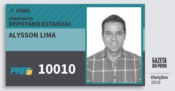 Santinho Alysson Lima 10010 (PRB) Deputado Estadual | Goiás | Eleições 2018