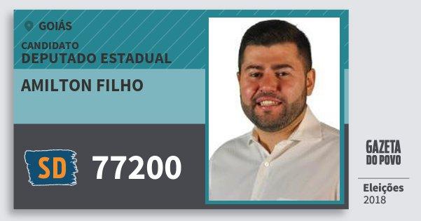 Santinho Amilton Filho 77200 (SOLIDARIEDADE) Deputado Estadual | Goiás | Eleições 2018