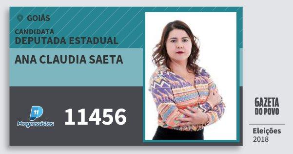 Santinho Ana Claudia Saeta 11456 (PP) Deputada Estadual | Goiás | Eleições 2018