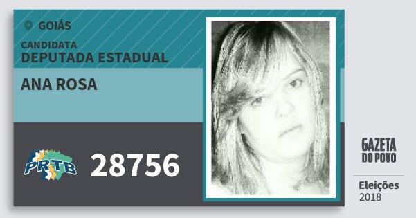 Santinho Ana Rosa 28756 (PRTB) Deputada Estadual | Goiás | Eleições 2018
