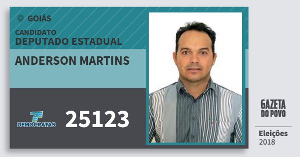 Santinho Anderson Martins 25123 (DEM) Deputado Estadual | Goiás | Eleições 2018