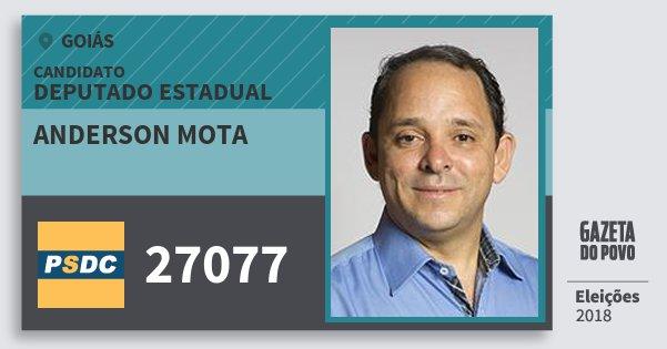 Santinho Anderson Mota 27077 (DC) Deputado Estadual | Goiás | Eleições 2018