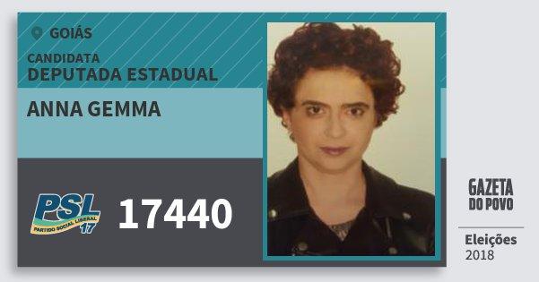 Santinho Anna Gemma 17440 (PSL) Deputada Estadual | Goiás | Eleições 2018