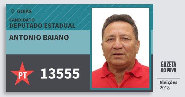 Santinho Antonio Baiano 13555 (PT) Deputado Estadual | Goiás | Eleições 2018