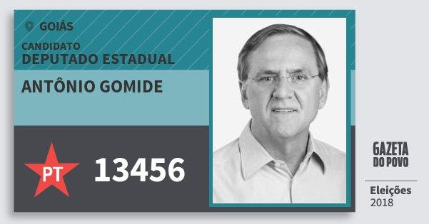 Santinho Antônio Gomide 13456 (PT) Deputado Estadual | Goiás | Eleições 2018