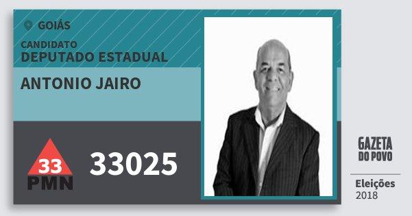 Santinho Antonio Jairo 33025 (PMN) Deputado Estadual | Goiás | Eleições 2018