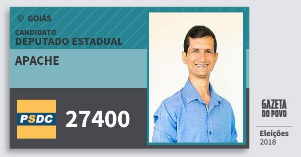 Santinho Apache 27400 (DC) Deputado Estadual | Goiás | Eleições 2018