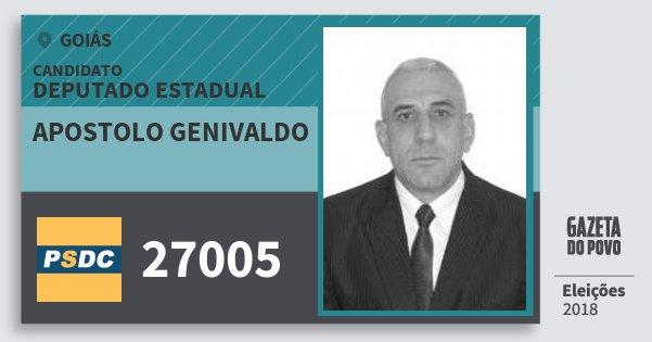 Santinho Apostolo Genivaldo 27005 (DC) Deputado Estadual | Goiás | Eleições 2018