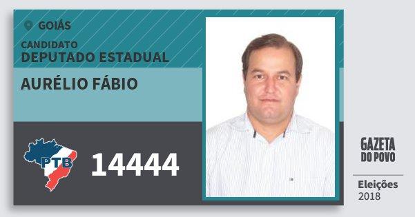 Santinho Aurélio Fábio 14444 (PTB) Deputado Estadual | Goiás | Eleições 2018