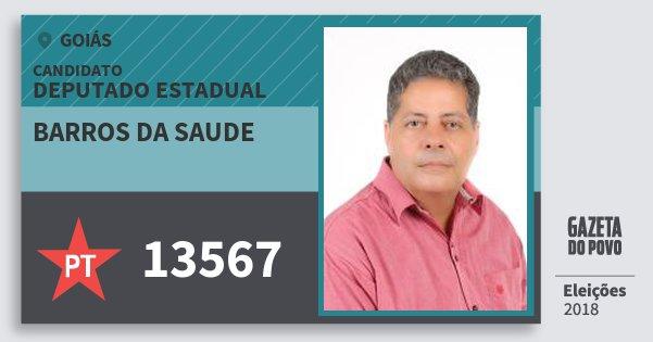 Santinho Barros da Saude 13567 (PT) Deputado Estadual | Goiás | Eleições 2018
