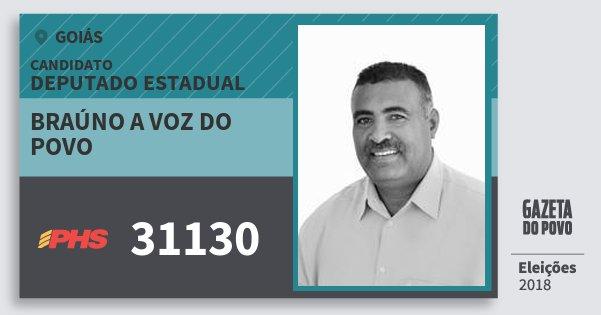 Santinho Braúno A Voz do Povo 31130 (PHS) Deputado Estadual | Goiás | Eleições 2018