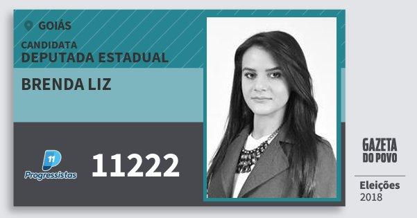 Santinho Brenda Liz 11222 (PP) Deputada Estadual | Goiás | Eleições 2018