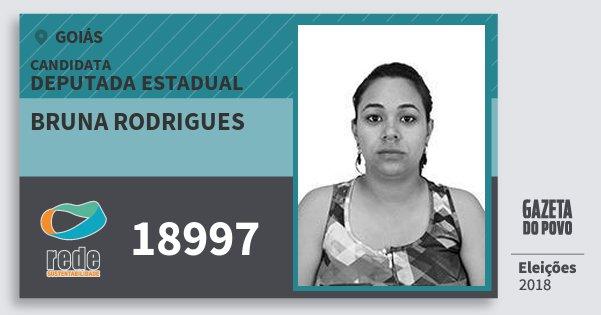 Santinho Bruna Rodrigues 18997 (REDE) Deputada Estadual | Goiás | Eleições 2018