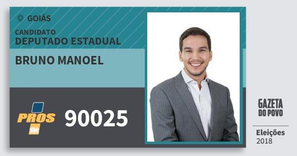 Santinho Bruno Manoel 90025 (PROS) Deputado Estadual | Goiás | Eleições 2018
