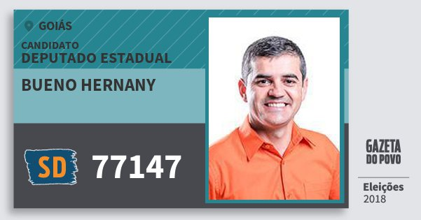 Santinho Bueno Hernany 77147 (SOLIDARIEDADE) Deputado Estadual | Goiás | Eleições 2018