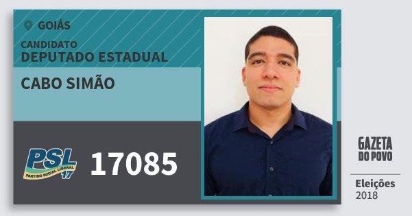 Santinho Cabo Simão 17085 (PSL) Deputado Estadual | Goiás | Eleições 2018