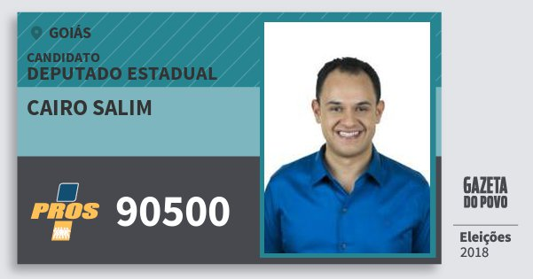 Santinho Cairo Salim 90500 (PROS) Deputado Estadual | Goiás | Eleições 2018