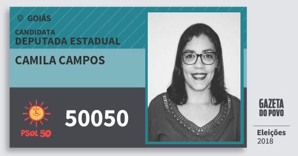 Santinho Camila Campos 50050 (PSOL) Deputada Estadual | Goiás | Eleições 2018