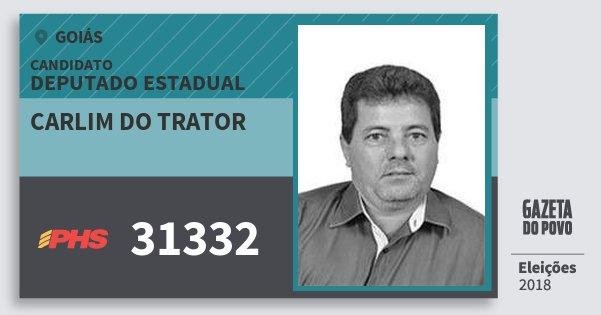 Santinho Carlim do Trator 31332 (PHS) Deputado Estadual | Goiás | Eleições 2018