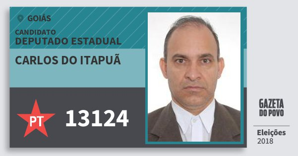 Santinho Carlos do Itapuã 13124 (PT) Deputado Estadual | Goiás | Eleições 2018