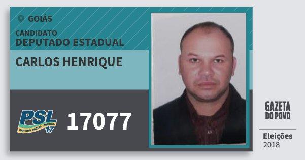 Santinho Carlos Henrique 17077 (PSL) Deputado Estadual | Goiás | Eleições 2018