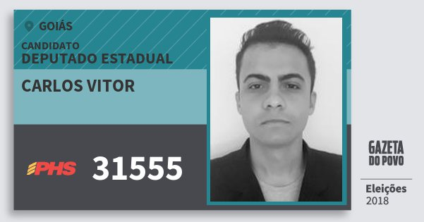 Santinho Carlos Vitor 31555 (PHS) Deputado Estadual | Goiás | Eleições 2018