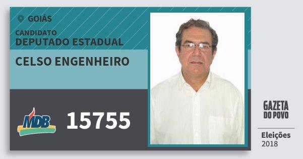Santinho Celso Engenheiro 15755 (MDB) Deputado Estadual | Goiás | Eleições 2018