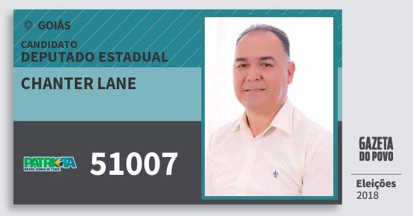 Santinho Chanter Lane 51007 (PATRI) Deputado Estadual | Goiás | Eleições 2018
