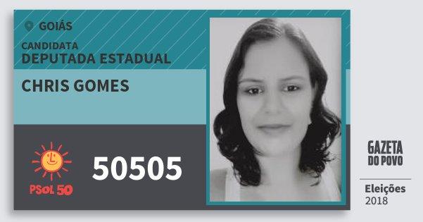 Santinho Chris Gomes 50505 (PSOL) Deputada Estadual | Goiás | Eleições 2018