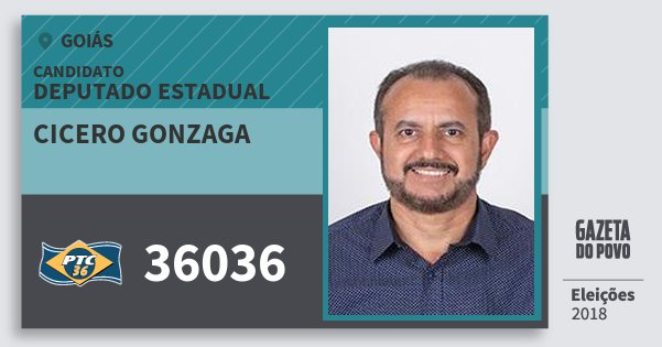 Santinho Cicero Gonzaga 36036 (PTC) Deputado Estadual | Goiás | Eleições 2018