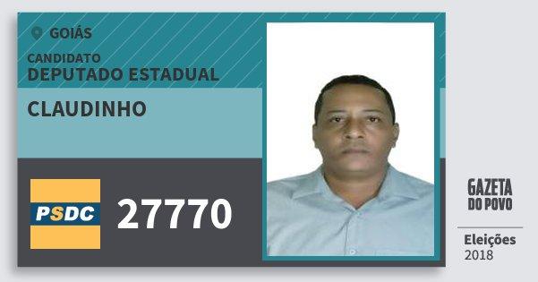 Santinho Claudinho 27770 (DC) Deputado Estadual | Goiás | Eleições 2018