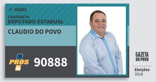 Santinho Claudio do Povo 90888 (PROS) Deputado Estadual | Goiás | Eleições 2018