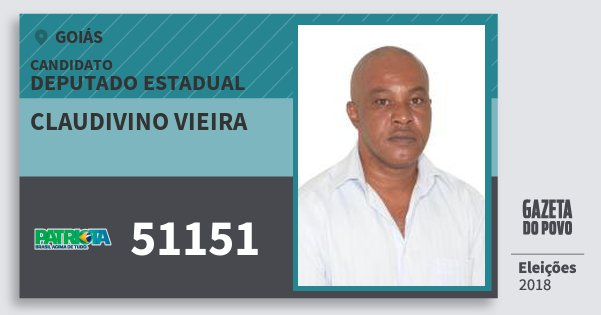 Santinho Claudivino Vieira 51151 (PATRI) Deputado Estadual | Goiás | Eleições 2018