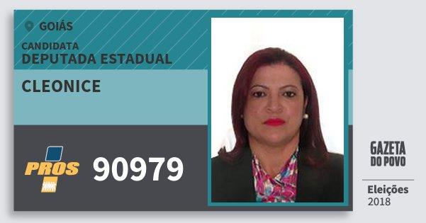 Santinho Cleonice 90979 (PROS) Deputada Estadual | Goiás | Eleições 2018