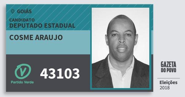 Santinho Cosme Araujo 43103 (PV) Deputado Estadual | Goiás | Eleições 2018