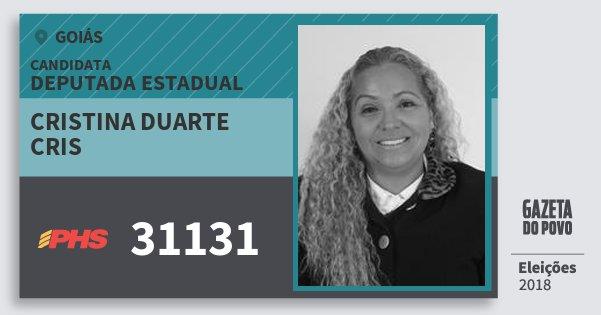 Santinho Cristina Duarte Cris 31131 (PHS) Deputada Estadual | Goiás | Eleições 2018