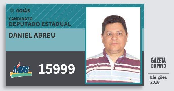 Santinho Daniel Abreu 15999 (MDB) Deputado Estadual | Goiás | Eleições 2018
