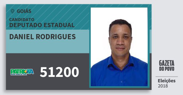 Santinho Daniel Rodrigues 51200 (PATRI) Deputado Estadual | Goiás | Eleições 2018