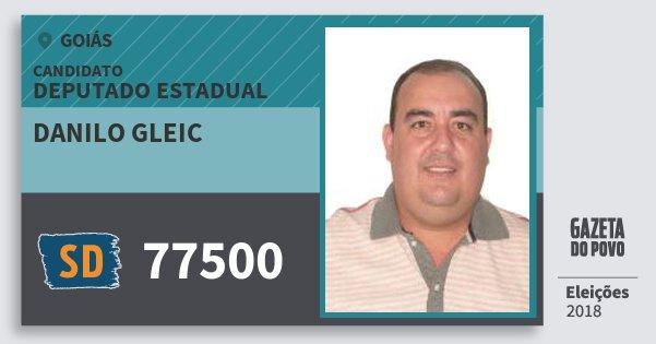 Santinho Danilo Gleic 77500 (SOLIDARIEDADE) Deputado Estadual | Goiás | Eleições 2018