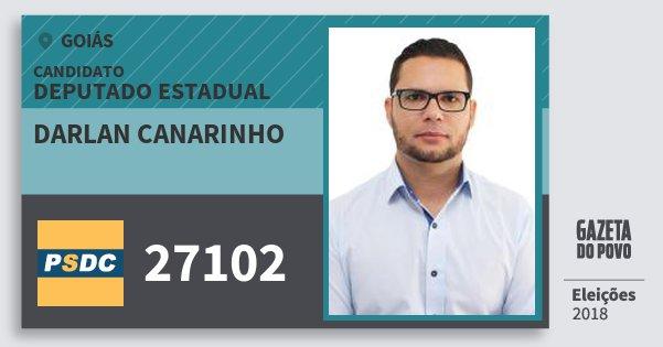 Santinho Darlan Canarinho 27102 (DC) Deputado Estadual | Goiás | Eleições 2018