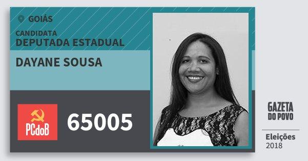 Santinho Dayane Sousa 65005 (PC do B) Deputada Estadual | Goiás | Eleições 2018
