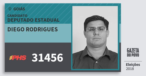 Santinho Diego Rodrigues 31456 (PHS) Deputado Estadual | Goiás | Eleições 2018