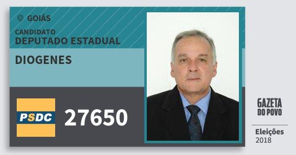 Santinho Diogenes 27650 (DC) Deputado Estadual | Goiás | Eleições 2018