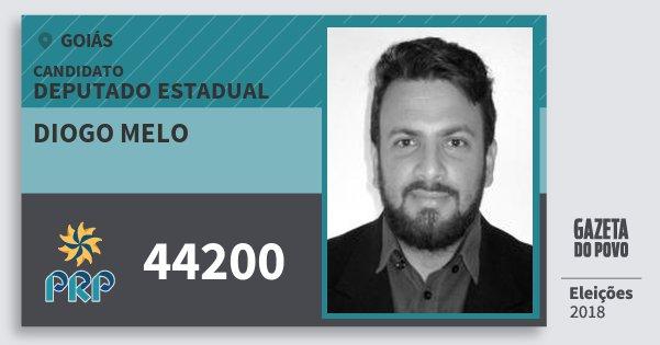 Santinho Diogo Melo 44200 (PRP) Deputado Estadual | Goiás | Eleições 2018