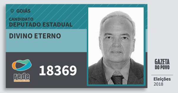 Santinho Divino Eterno 18369 (REDE) Deputado Estadual | Goiás | Eleições 2018