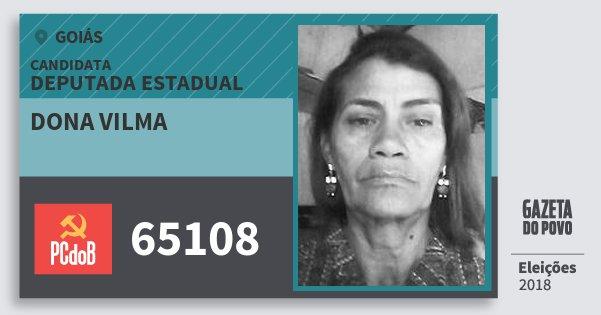 Santinho Dona Vilma 65108 (PC do B) Deputada Estadual | Goiás | Eleições 2018