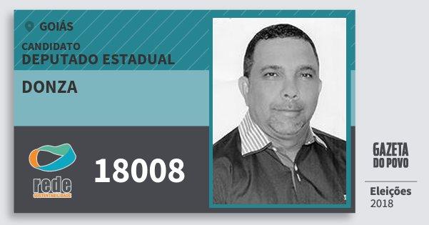 Santinho Donza 18008 (REDE) Deputado Estadual | Goiás | Eleições 2018
